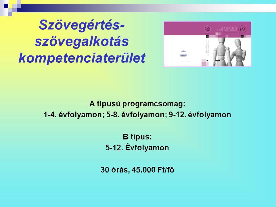 Szövegértés- szövegalkotás kompetenciaterület A típusú programcsomag: 1-4. évfolyamon; 5-8. évfolyamon; 9-12. évfolyamon B típus: 5-12. Évfolyamon 30
