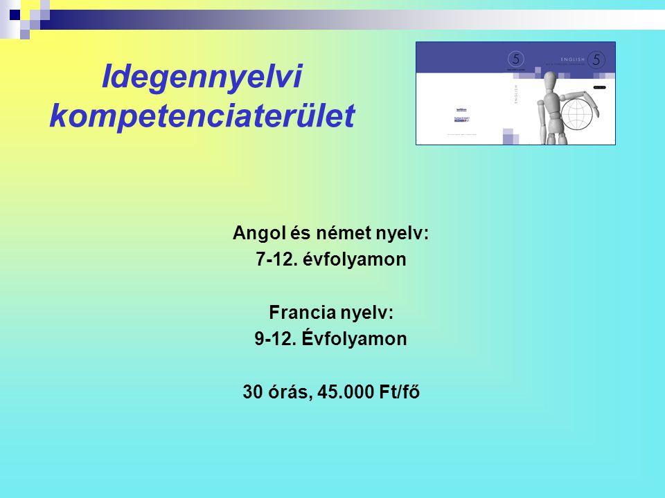 Idegennyelvi kompetenciaterület Angol és német nyelv: 7-12. évfolyamon Francia nyelv: 9-12. Évfolyamon 30 órás, 45.000 Ft/fő