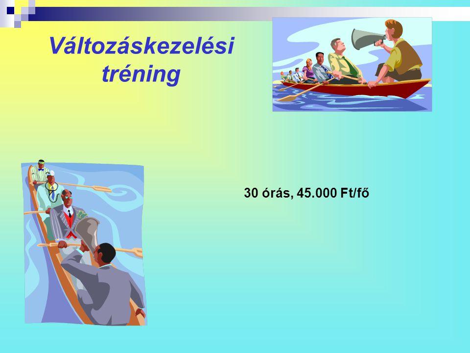 Változáskezelési tréning 30 órás, 45.000 Ft/fő