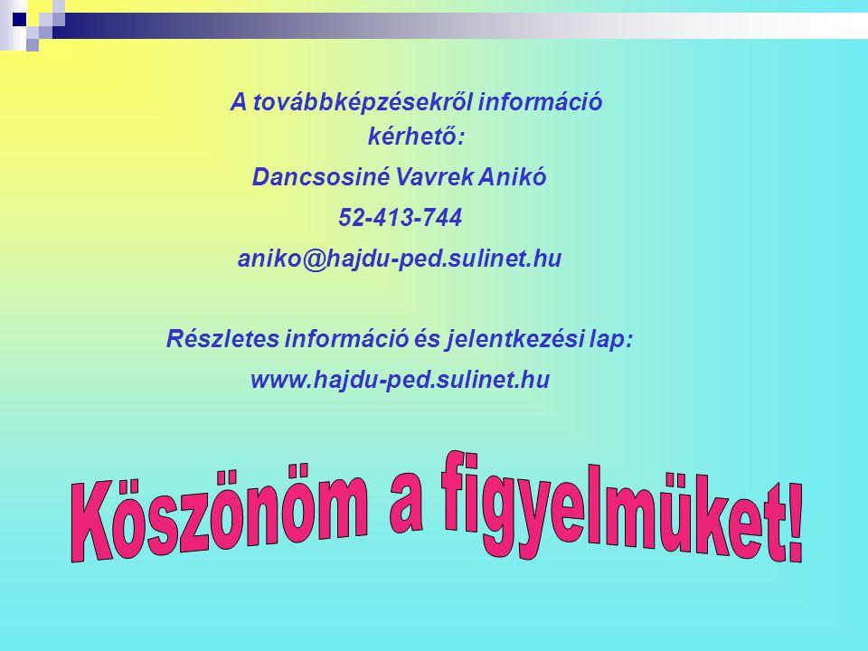 A továbbképzésekről információ kérhető: Dancsosiné Vavrek Anikó 52-413-744 aniko@hajdu-ped.sulinet.hu Részletes információ és jelentkezési lap: www.ha