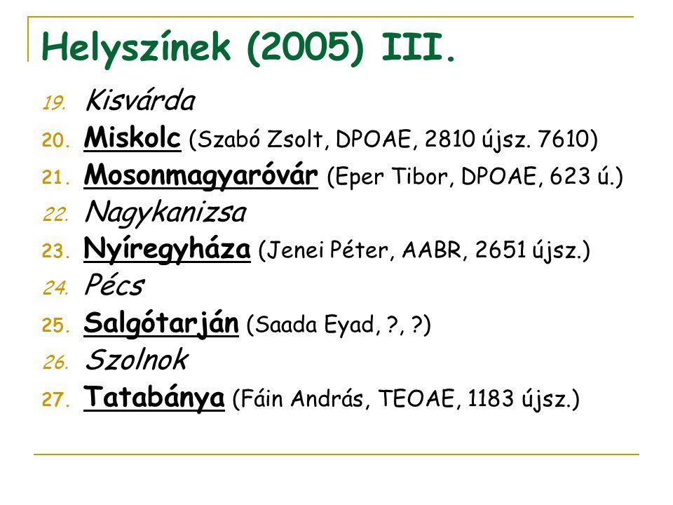 Helyszínek (2005) III. 19. Kisvárda 20. Miskolc (Szabó Zsolt, DPOAE, 2810 újsz. 7610) 21. Mosonmagyaróvár (Eper Tibor, DPOAE, 623 ú.) 22. Nagykanizsa