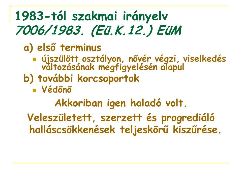 1983-tól szakmai irányelv 7006/1983. (Eü.K.12.) EüM a) első terminus újszülött osztályon, nővér végzi, viselkedés változásának megfigyelésén alapul b)
