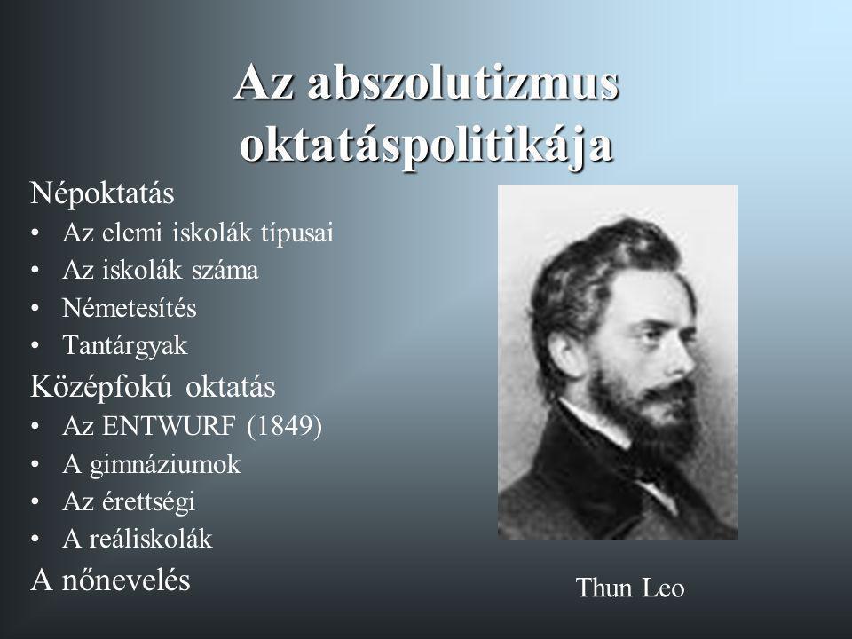 Az abszolutizmus oktatáspolitikája Népoktatás Az elemi iskolák típusai Az iskolák száma Németesítés Tantárgyak Középfokú oktatás Az ENTWURF (1849) A g
