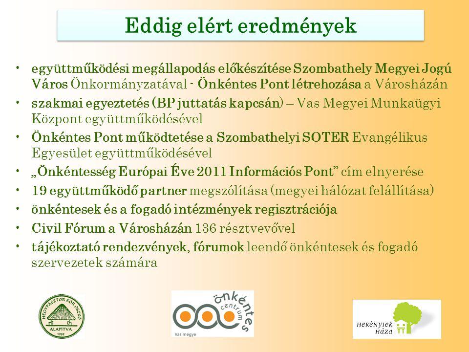 """Eddig elért eredmények együttműködési megállapodás előkészítése Szombathely Megyei Jogú Város Önkormányzatával - Önkéntes Pont létrehozása a Városházán szakmai egyeztetés (BP juttatás kapcsán) – Vas Megyei Munkaügyi Központ együttműködésével Önkéntes Pont működtetése a Szombathelyi SOTER Evangélikus Egyesület együttműködésével """"Önkéntesség Európai Éve 2011 Információs Pont cím elnyerése 19 együttműködő partner megszólítása (megyei hálózat felállítása) önkéntesek és a fogadó intézmények regisztrációja Civil Fórum a Városházán 136 résztvevővel tájékoztató rendezvények, fórumok leendő önkéntesek és fogadó szervezetek számára"""