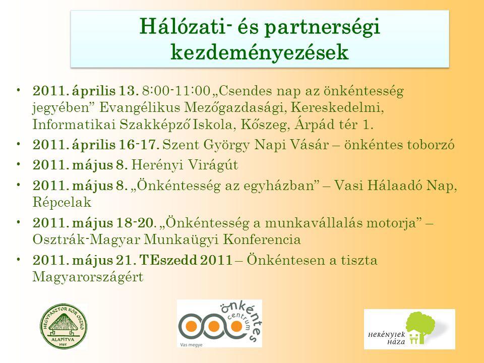 """Hálózati- és partnerségi kezdeményezések 2011. április 13. 8:00-11:00 """"Csendes nap az önkéntesség jegyében"""" Evangélikus Mezőgazdasági, Kereskedelmi, I"""