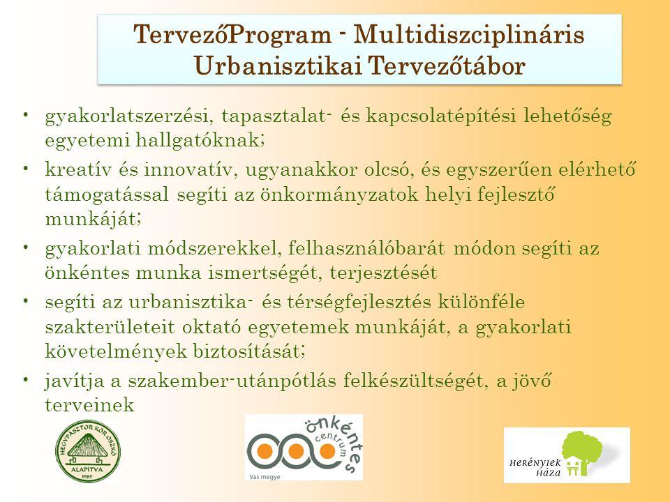 TervezőProgram - Multidiszciplináris Urbanisztikai Tervezőtábor gyakorlatszerzési, tapasztalat- és kapcsolatépítési lehetőség egyetemi hallgatóknak; kreatív és innovatív, ugyanakkor olcsó, és egyszerűen elérhető támogatással segíti az önkormányzatok helyi fejlesztő munkáját; gyakorlati módszerekkel, felhasználóbarát módon segíti az önkéntes munka ismertségét, terjesztését segíti az urbanisztika- és térségfejlesztés különféle szakterületeit oktató egyetemek munkáját, a gyakorlati követelmények biztosítását; javítja a szakember-utánpótlás felkészültségét, a jövő terveinek