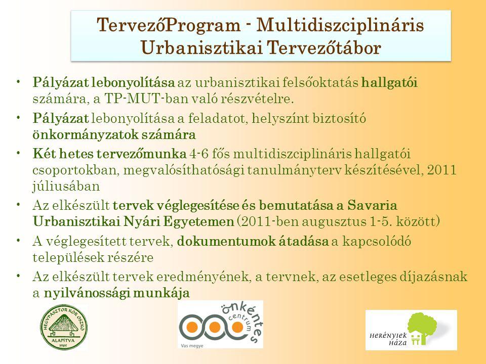 TervezőProgram - Multidiszciplináris Urbanisztikai Tervezőtábor Pályázat lebonyolítása az urbanisztikai felsőoktatás hallgatói számára, a TP-MUT-ban való részvételre.