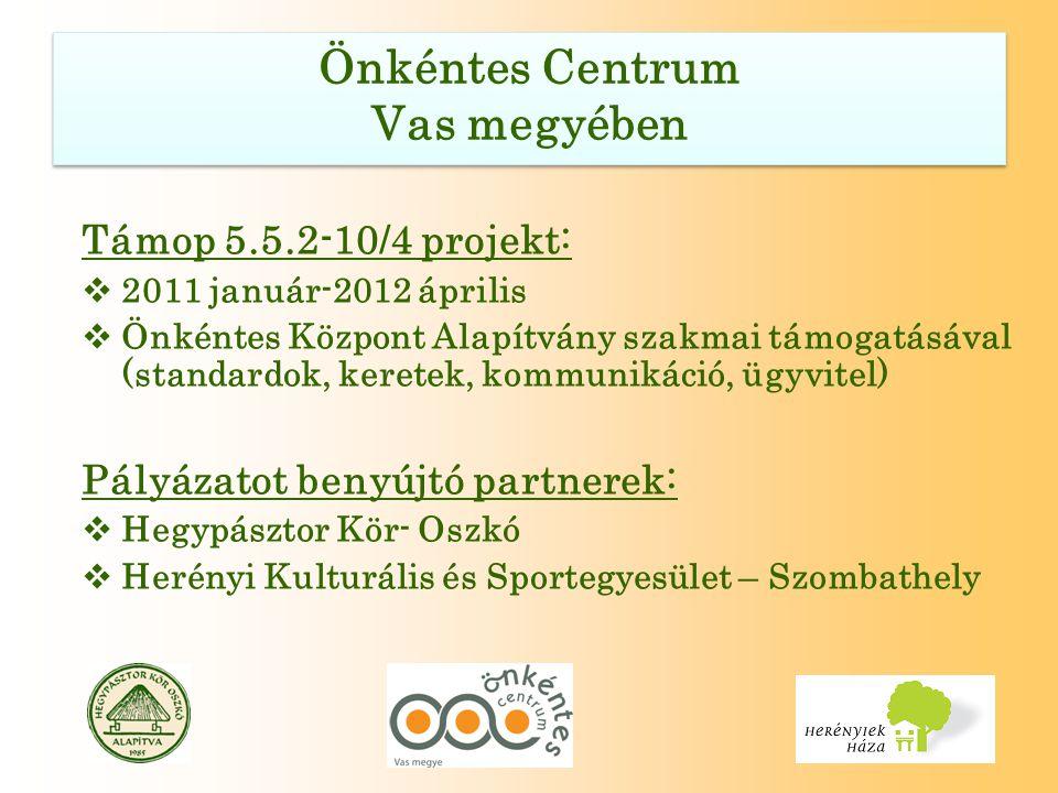 Támop 5.5.2-10/4 projekt:  2011 január-2012 április  Önkéntes Központ Alapítvány szakmai támogatásával (standardok, keretek, kommunikáció, ügyvitel) Pályázatot benyújtó partnerek:  Hegypásztor Kör- Oszkó  Herényi Kulturális és Sportegyesület – Szombathely
