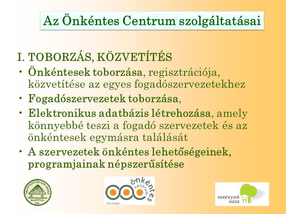 Az Önkéntes Centrum szolgáltatásai I. TOBORZÁS, KÖZVETÍTÉS Önkéntesek toborzása, regisztrációja, közvetítése az egyes fogadószervezetekhez Fogadószerv