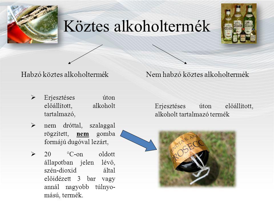 Köztes alkoholtermék Nem habzó köztes alkoholtermékHabzó köztes alkoholtermék  Erjesztéses úton előállított, alkoholt tartalmazó,  nem dróttal, szalaggal rögzített, nem gomba formájú dugóval lezárt,  20 °C-on oldott állapotban jelen lévő, szén-dioxid által előidézett 3 bar vagy annál nagyobb túlnyo- mású, termék.