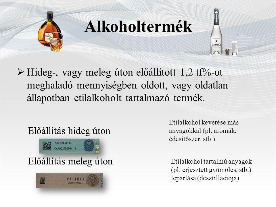 Alkoholtermék  Hideg-, vagy meleg úton előállított 1,2 tf%-ot meghaladó mennyiségben oldott, vagy oldatlan állapotban etilalkoholt tartalmazó termék.
