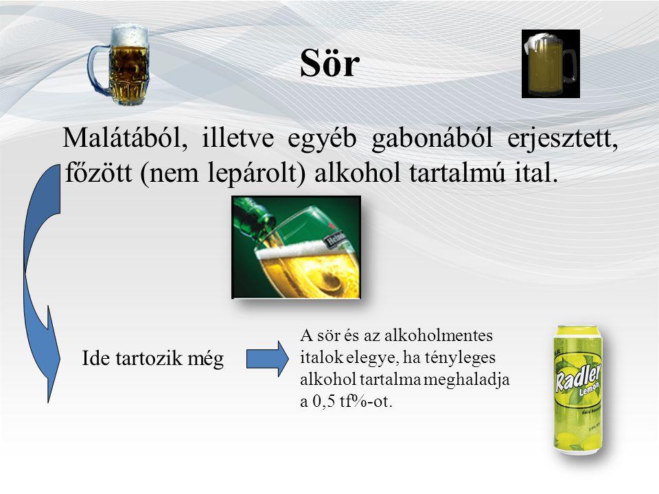 Sör Malátából, illetve egyéb gabonából erjesztett, főzött (nem lepárolt) alkohol tartalmú ital.