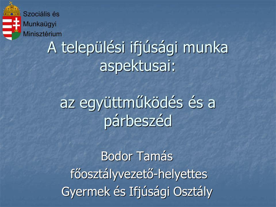 A települési ifjúsági munka aspektusai: az együttműködés és a párbeszéd Bodor Tamás főosztályvezető-helyettes főosztályvezető-helyettes Gyermek és Ifj