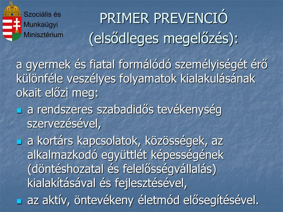 PRIMER PREVENCIÓ (elsődleges megelőzés): a gyermek és fiatal formálódó személyiségét érő különféle veszélyes folyamatok kialakulásának okait előzi meg