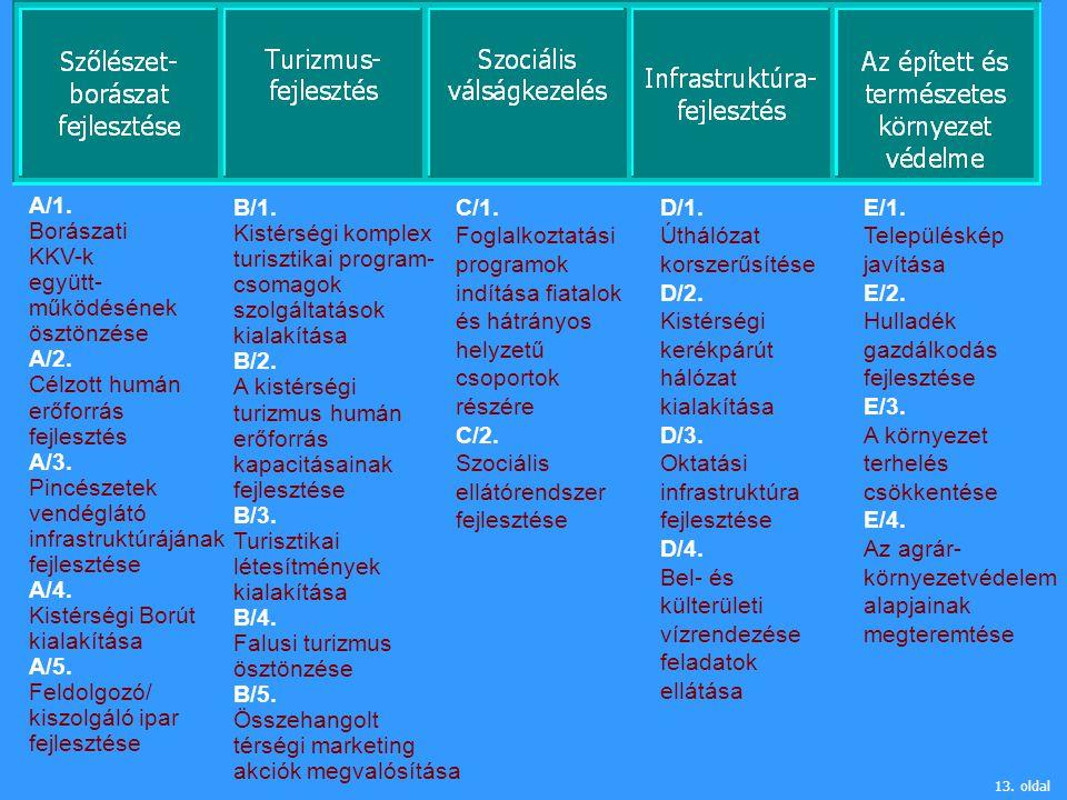 13. oldal A/1. Borászati KKV-k együtt- működésének ösztönzése A/2. Célzott humán erőforrás fejlesztés A/3. Pincészetek vendéglátó infrastruktúrájának