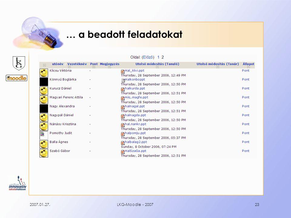 2007.01.27.LKG-Moodle - 200723 … a beadott feladatokat
