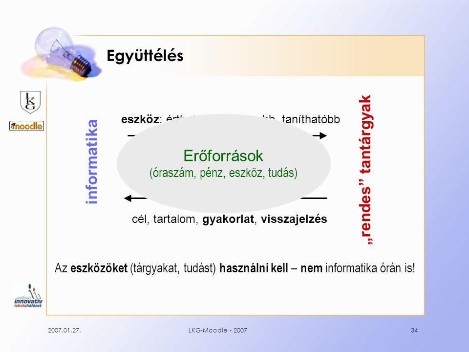 2007.01.27.LKG-Moodle - 200734 Együttélés Az eszközöket (tárgyakat, tudást) használni kell – nem informatika órán is.