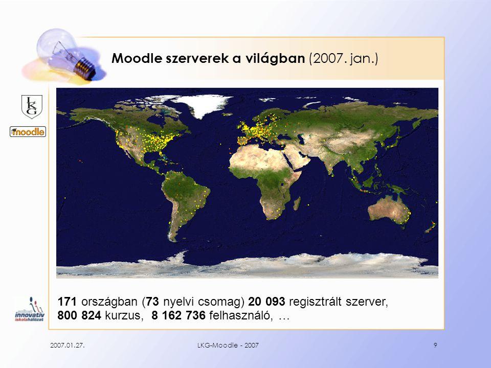 2007.01.27.LKG-Moodle - 20079 Moodle szerverek a világban (2007. jan.) 171 országban (73 nyelvi csomag) 20 093 regisztrált szerver, 800 824 kurzus, 8