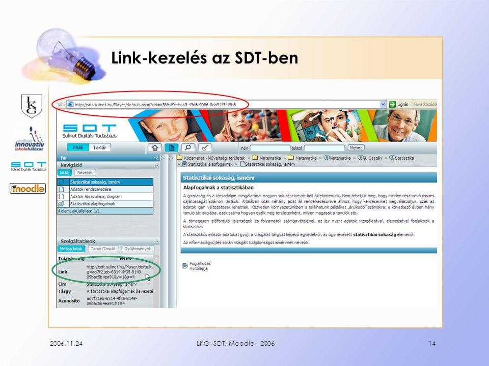 2006.11.24LKG, SDT, Moodle - 200614 Link-kezelés az SDT-ben