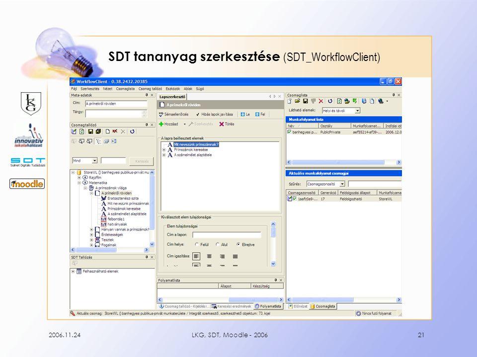 2006.11.24LKG, SDT, Moodle - 200621 SDT tananyag szerkesztése (SDT_WorkflowClient)
