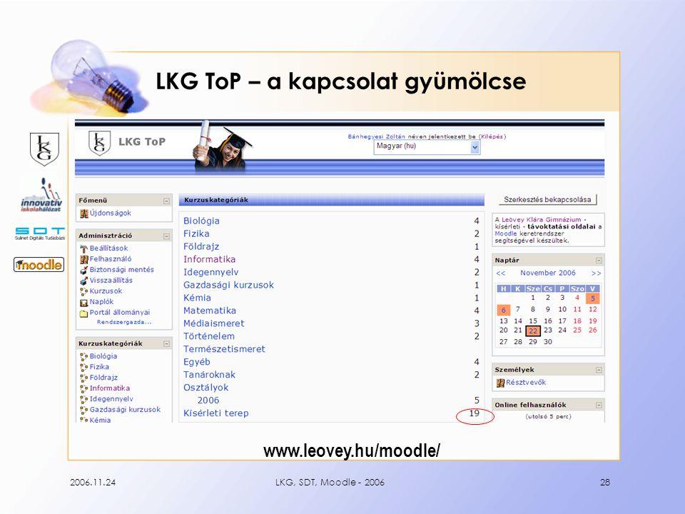 2006.11.24LKG, SDT, Moodle - 200628 LKG ToP – a kapcsolat gyümölcse www.leovey.hu/moodle/