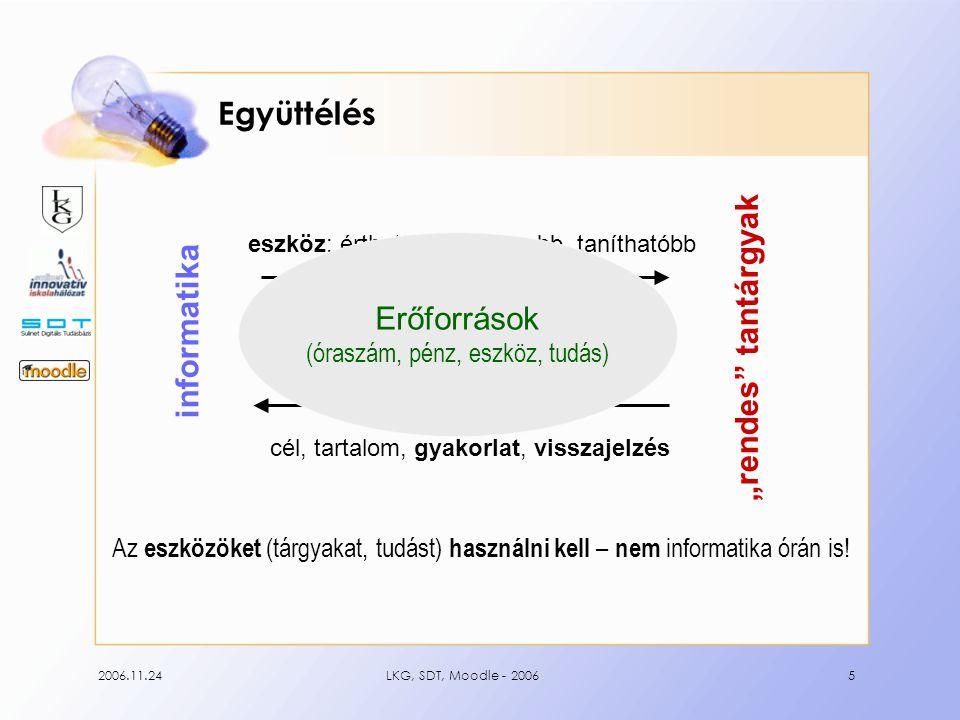 2006.11.24LKG, SDT, Moodle - 20065 Együttélés Az eszközöket (tárgyakat, tudást) használni kell – nem informatika órán is.