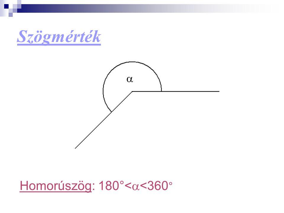 Homorúszög: 180°<  <360 ° 