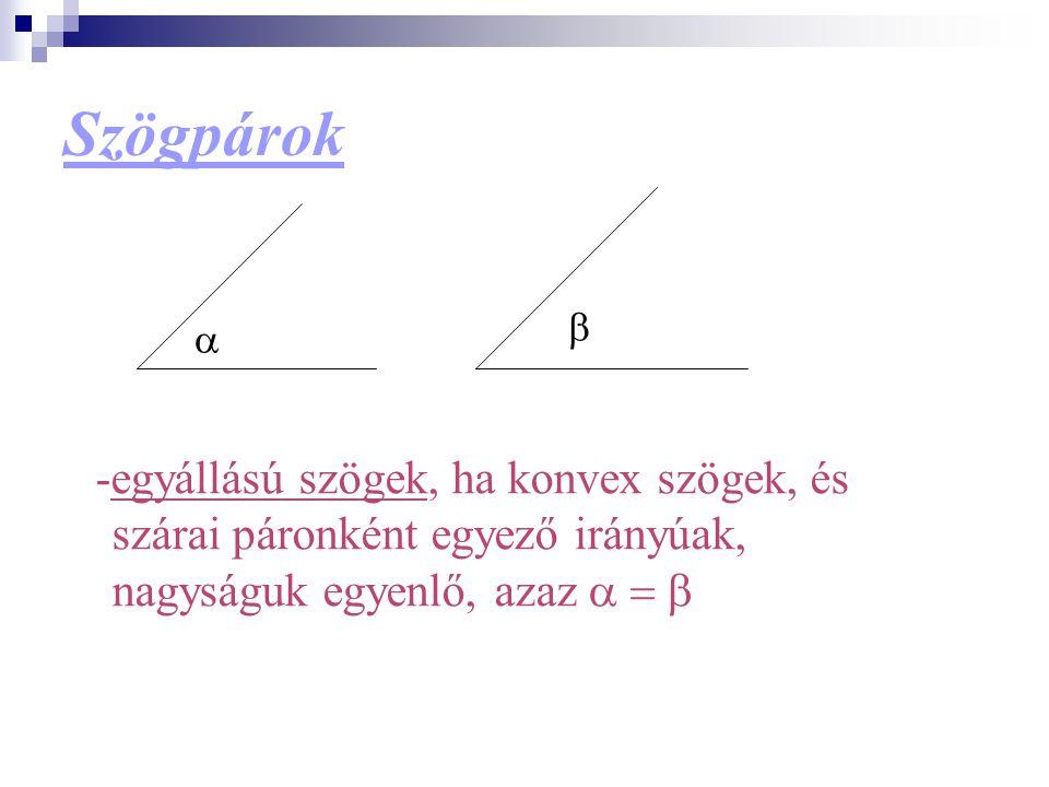 Szögpárok -egyállású szögek, ha konvex szögek, és szárai páronként egyező irányúak, nagyságuk egyenlő, azaz    