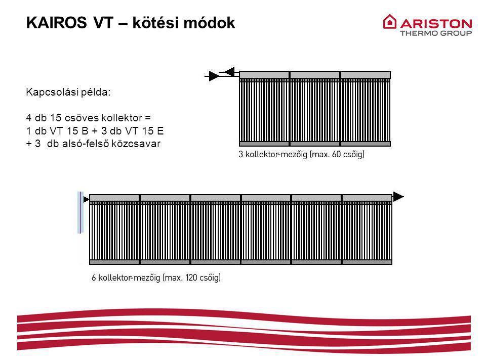 KAIROS VT – kötési módok Kapcsolási példa: 4 db 15 csöves kollektor = 1 db VT 15 B + 3 db VT 15 E + 3 db alsó-felső közcsavar