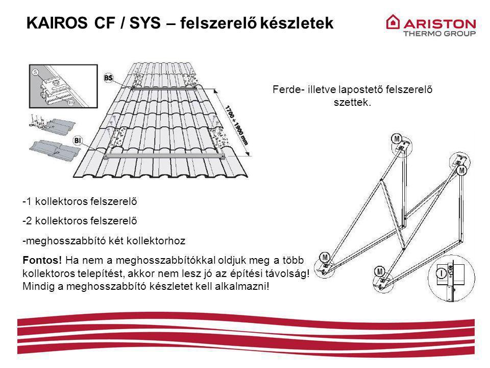 KAIROS CF / SYS – felszerelő készletek -1 kollektoros felszerelő -2 kollektoros felszerelő -meghosszabbító két kollektorhoz Fontos.
