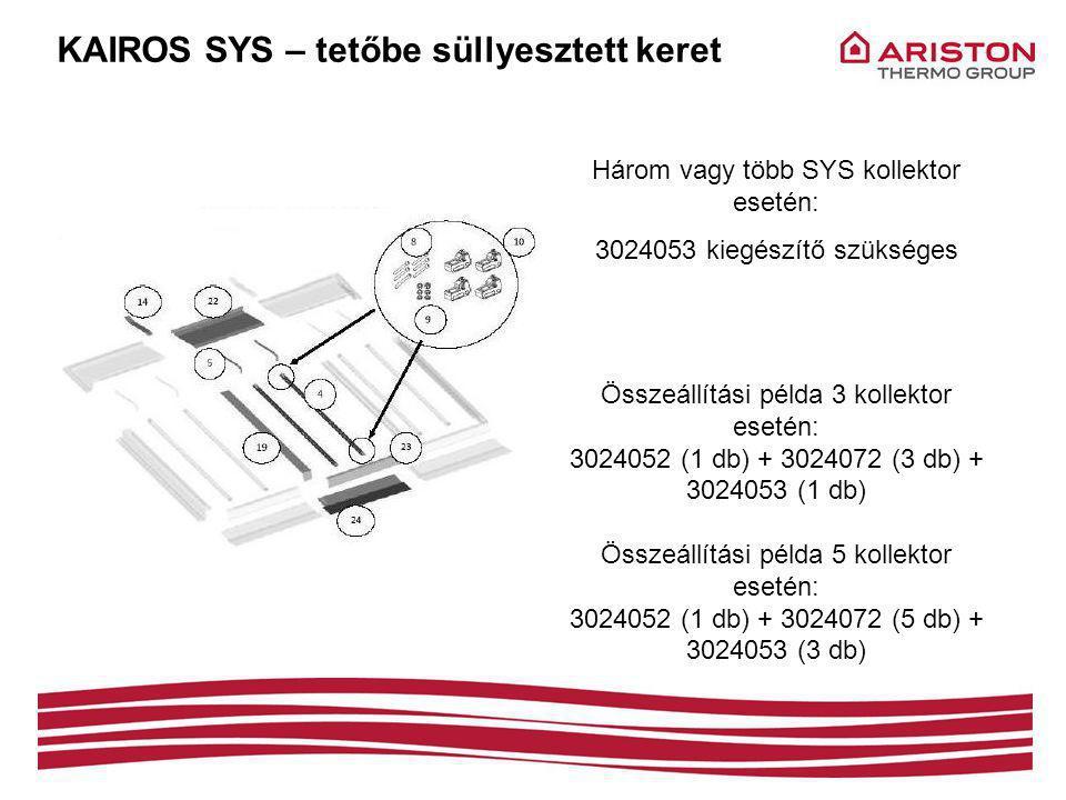 KAIROS SYS – tetőbe süllyesztett keret Három vagy több SYS kollektor esetén: 3024053 kiegészítő szükséges Összeállítási példa 3 kollektor esetén: 3024052 (1 db) + 3024072 (3 db) + 3024053 (1 db) Összeállítási példa 5 kollektor esetén: 3024052 (1 db) + 3024072 (5 db) + 3024053 (3 db)