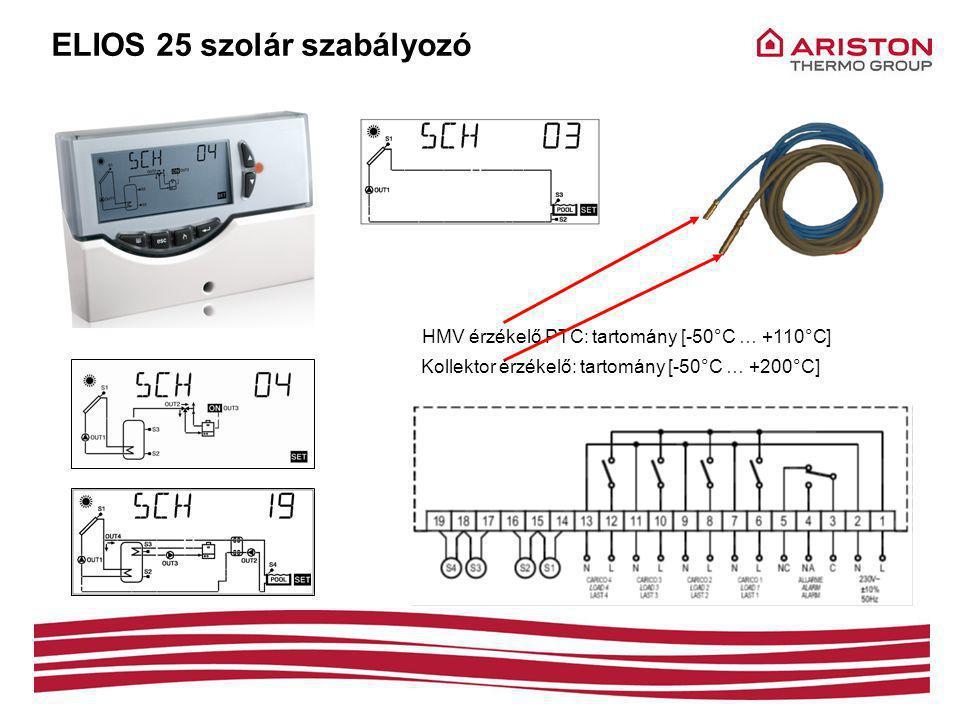 HMV érzékelő PTC: tartomány [-50°C … +110°C] Kollektor érzékelő: tartomány [-50°C … +200°C] ELIOS 25 szolár szabályozó