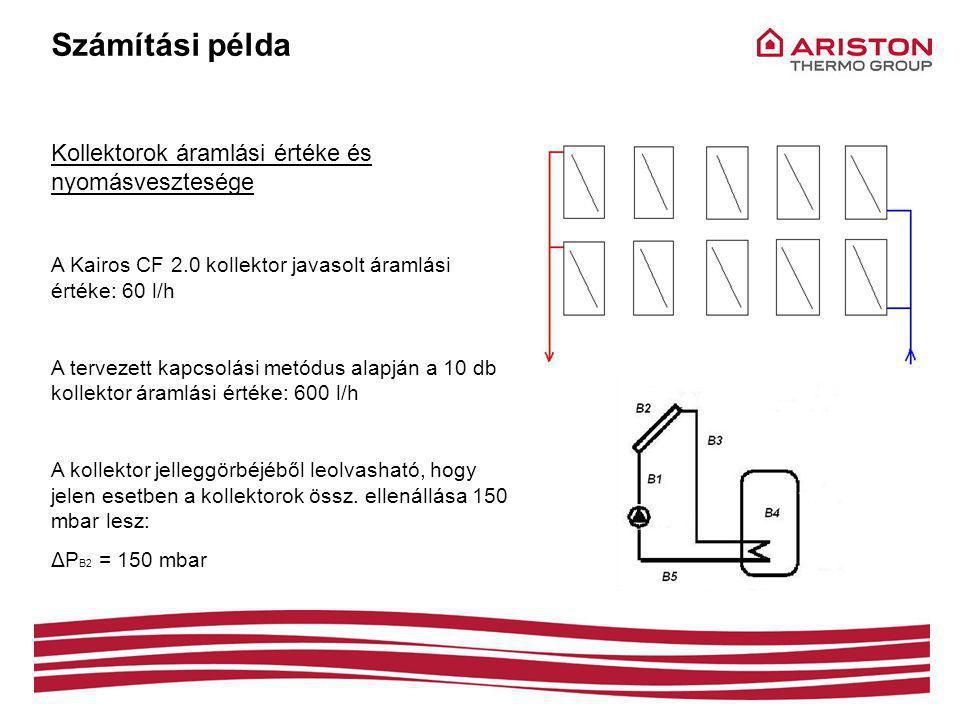 Számítási példa Kollektorok áramlási értéke és nyomásvesztesége A Kairos CF 2.0 kollektor javasolt áramlási értéke: 60 l/h A tervezett kapcsolási metódus alapján a 10 db kollektor áramlási értéke: 600 l/h A kollektor jelleggörbéjéből leolvasható, hogy jelen esetben a kollektorok össz.