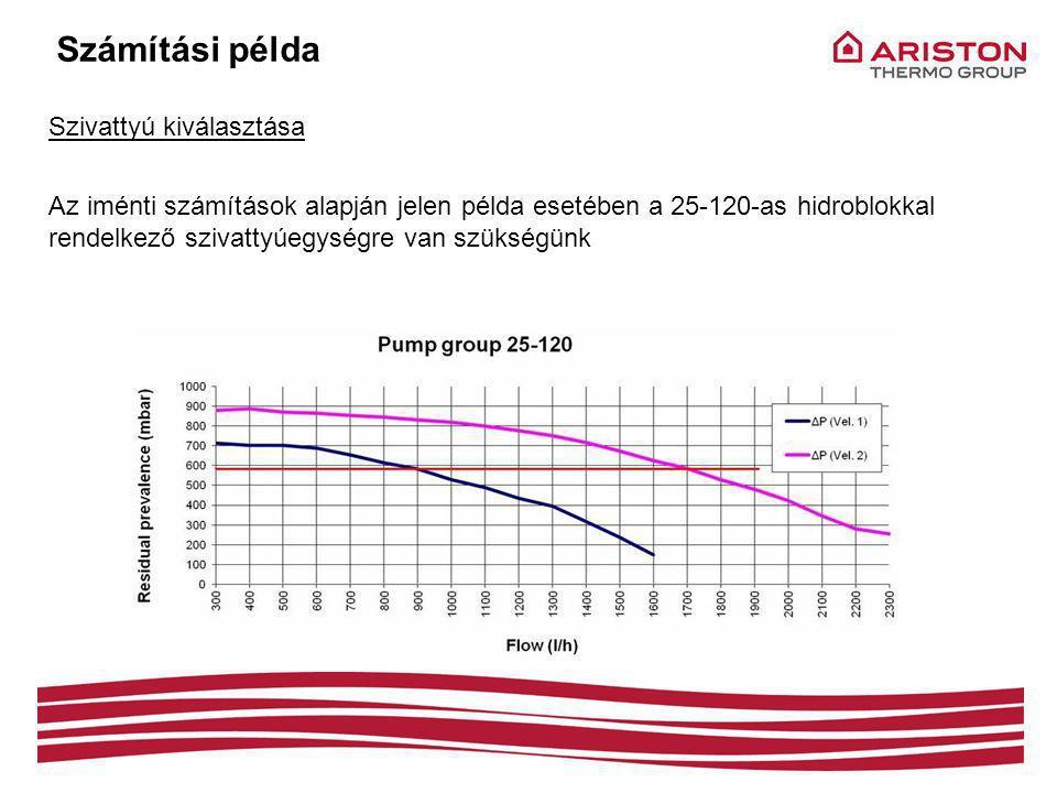 Számítási példa Szivattyú kiválasztása Az iménti számítások alapján jelen példa esetében a 25-120-as hidroblokkal rendelkező szivattyúegységre van szükségünk