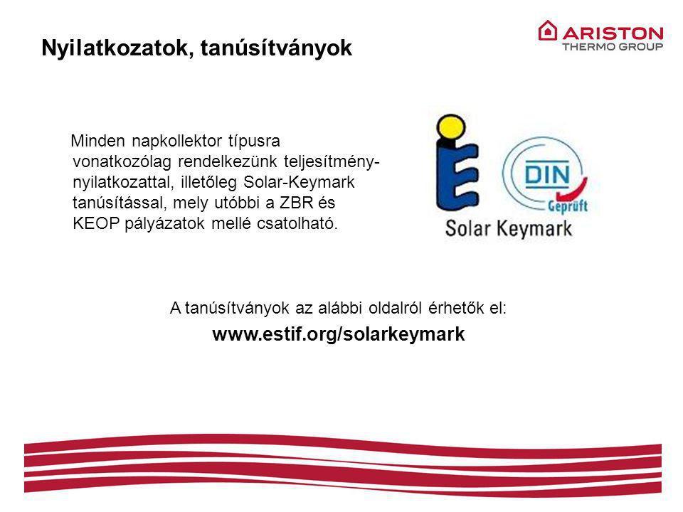 Nyilatkozatok, tanúsítványok Minden napkollektor típusra vonatkozólag rendelkezünk teljesítmény- nyilatkozattal, illetőleg Solar-Keymark tanúsítással, mely utóbbi a ZBR és KEOP pályázatok mellé csatolható.