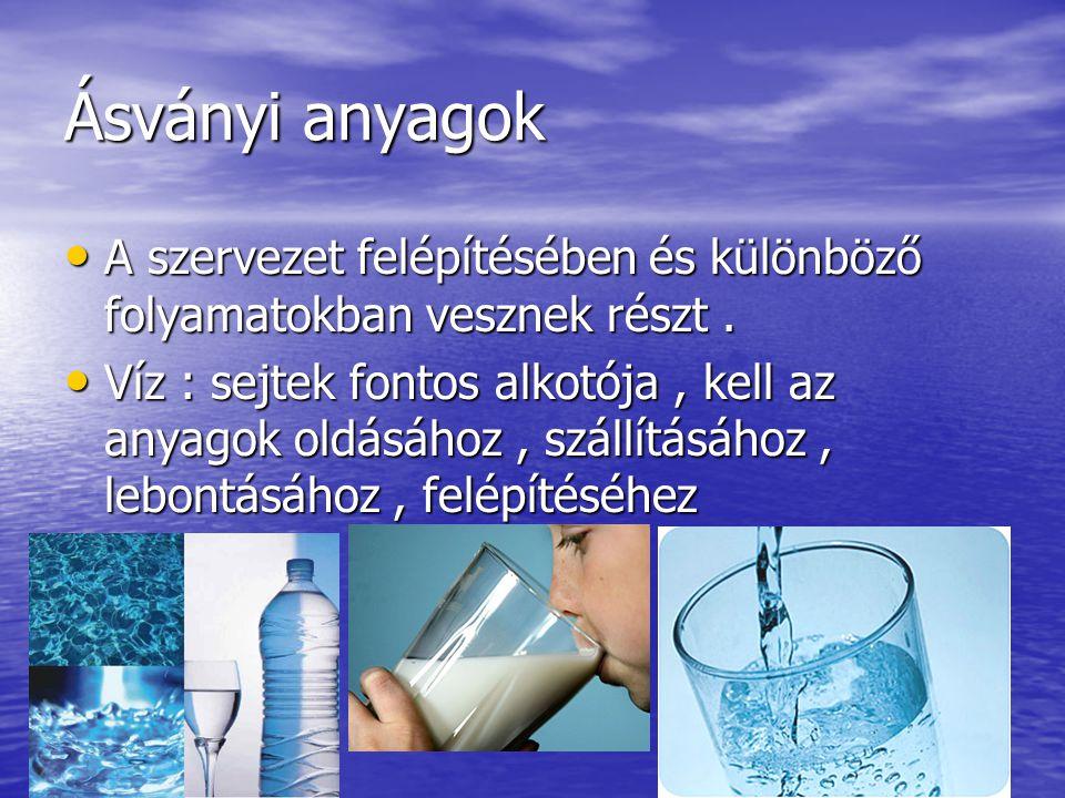 Ásványi anyagok A szervezet felépítésében és különböző folyamatokban vesznek részt. Víz : sejtek fontos alkotója, kell az anyagok oldásához, szállítás
