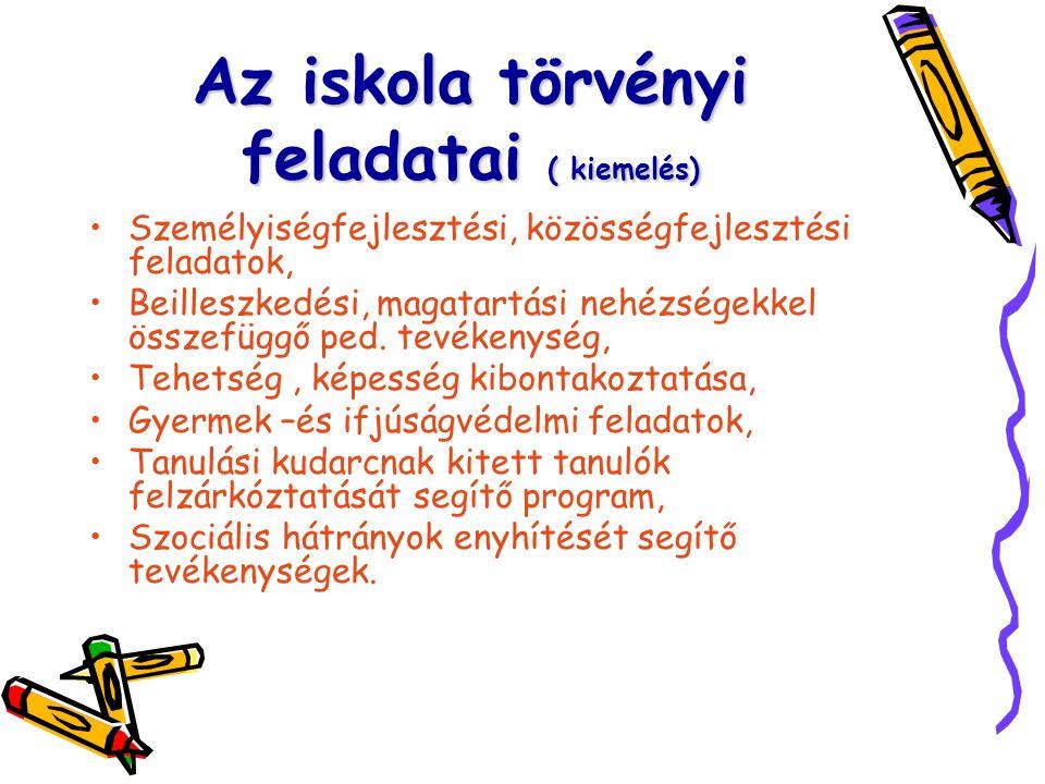 Az iskola törvényi feladatai ( kiemelés) Személyiségfejlesztési, közösségfejlesztési feladatok, Beilleszkedési, magatartási nehézségekkel összefüggő p