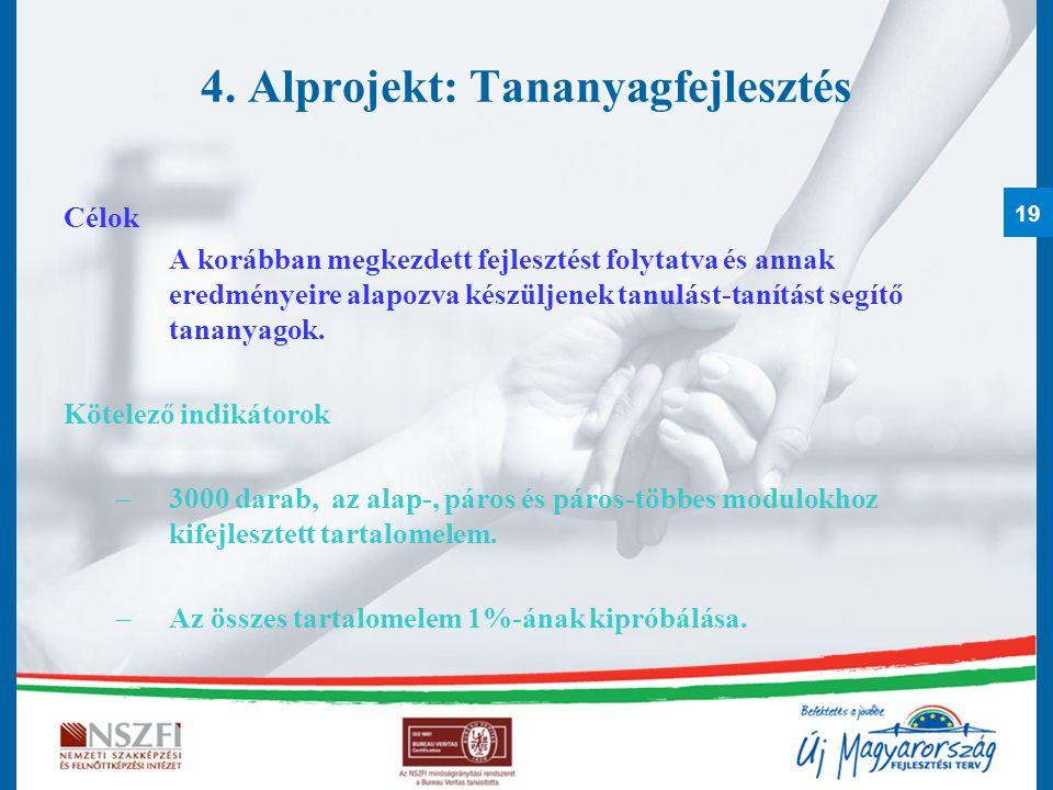 19 4. Alprojekt: Tananyagfejlesztés Célok A korábban megkezdett fejlesztést folytatva és annak eredményeire alapozva készüljenek tanulást-tanítást seg