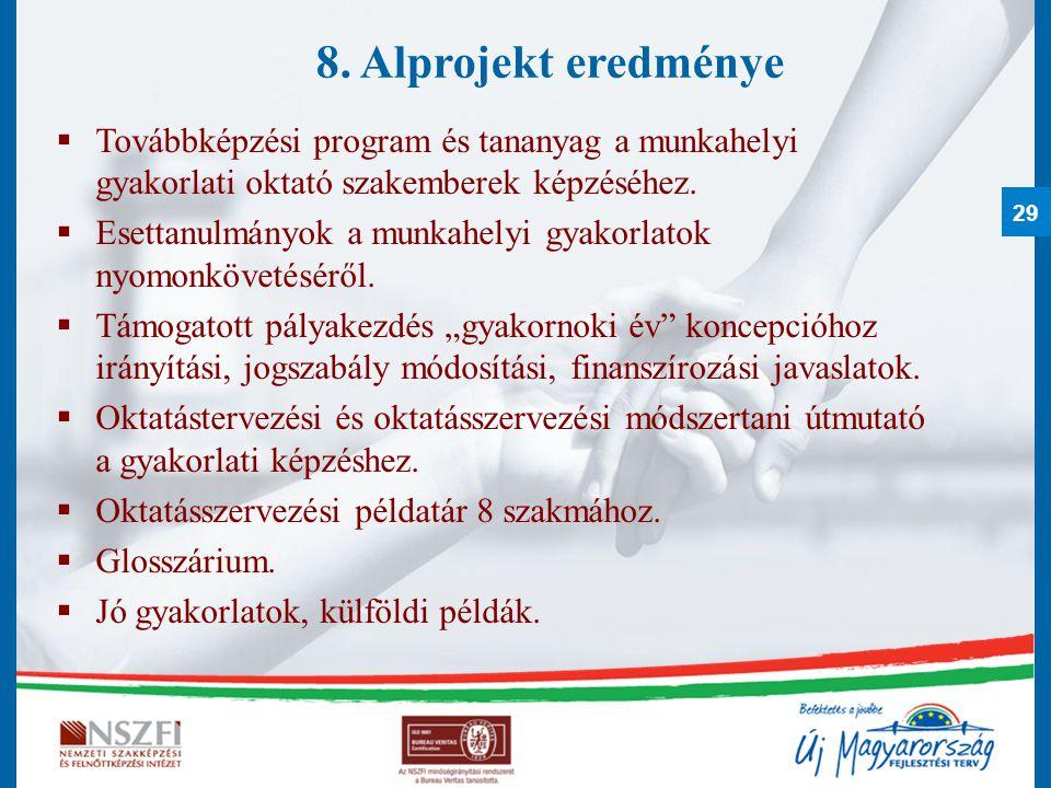 29 8. Alprojekt eredménye  Továbbképzési program és tananyag a munkahelyi gyakorlati oktató szakemberek képzéséhez.  Esettanulmányok a munkahelyi gy