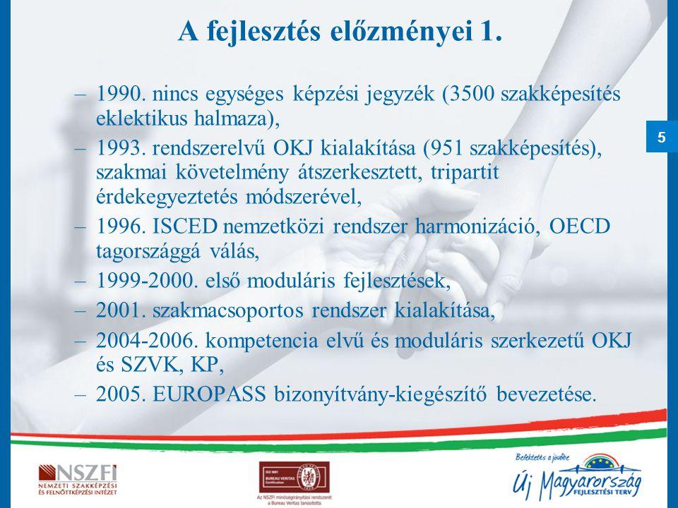 5 A fejlesztés előzményei 1. –1990. nincs egységes képzési jegyzék (3500 szakképesítés eklektikus halmaza), –1993. rendszerelvű OKJ kialakítása (951 s