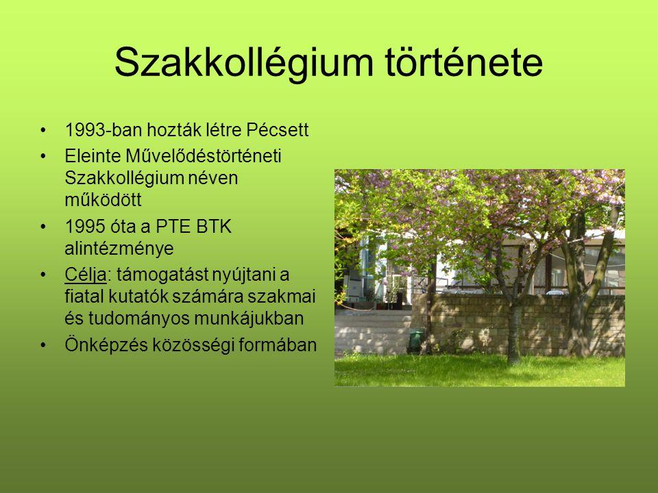 Szakkollégium története 1993-ban hozták létre Pécsett Eleinte Művelődéstörténeti Szakkollégium néven működött 1995 óta a PTE BTK alintézménye Célja: támogatást nyújtani a fiatal kutatók számára szakmai és tudományos munkájukban Önképzés közösségi formában