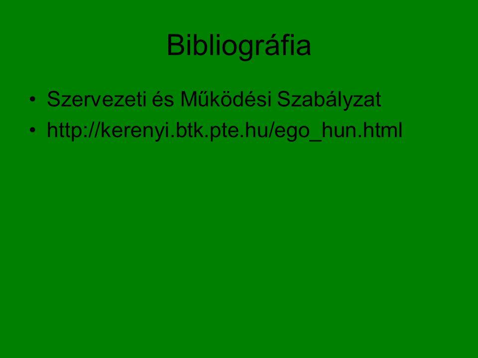 Bibliográfia Szervezeti és Működési Szabályzat http://kerenyi.btk.pte.hu/ego_hun.html