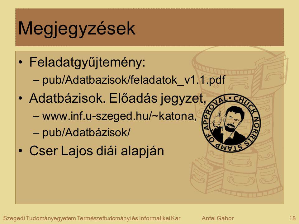 Szegedi Tudományegyetem Természettudományi és Informatikai KarAntal Gábor18Szegedi Tudományegyetem Természettudományi és Informatikai KarAntal GáborSz