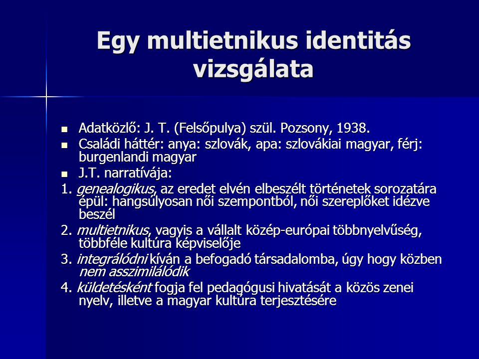 Egy multietnikus identitás vizsgálata Adatközlő: J.