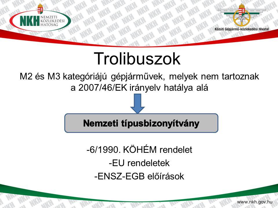 Trolibuszok M2 és M3 kategóriájú gépjárművek, melyek nem tartoznak a 2007/46/EK irányelv hatálya alá -6/1990. KÖHÉM rendelet -EU rendeletek -ENSZ-EGB
