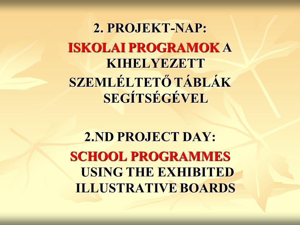 2. PROJEKT-NAP: ISKOLAI PROGRAMOK A KIHELYEZETT SZEMLÉLTETŐ TÁBLÁK SEGÍTSÉGÉVEL 2.ND PROJECT DAY: SCHOOL PROGRAMMES USING THE EXHIBITED ILLUSTRATIVE B