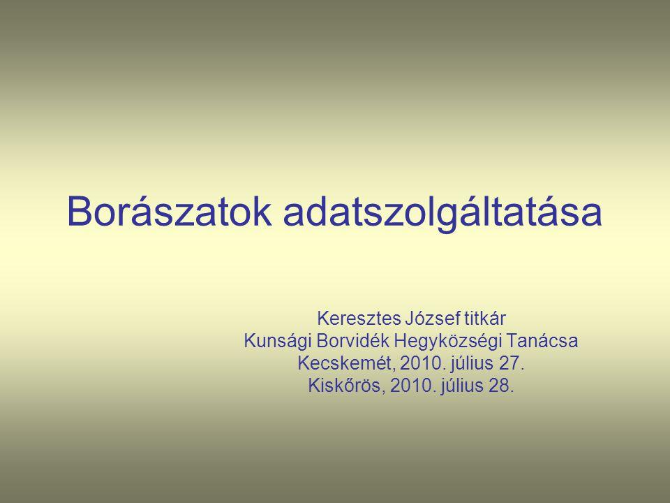 Borászatok adatszolgáltatása Keresztes József titkár Kunsági Borvidék Hegyközségi Tanácsa Kecskemét, 2010. július 27. Kiskőrös, 2010. július 28.