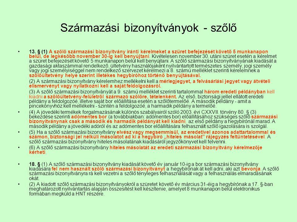 Származási bizonyítványok - szőlő 13. § (1) A szőlő származási bizonyítvány iránti kérelmeket a szüret befejezését követő 5 munkanapon belül, de legké