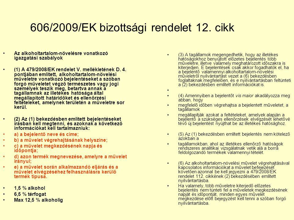 606/2009/EK bizottsági rendelet 12. cikk Az alkoholtartalom-növelésre vonatkozó igazgatási szabályok (1) A 479/2008/EK rendelet V. mellékletének D. 4.