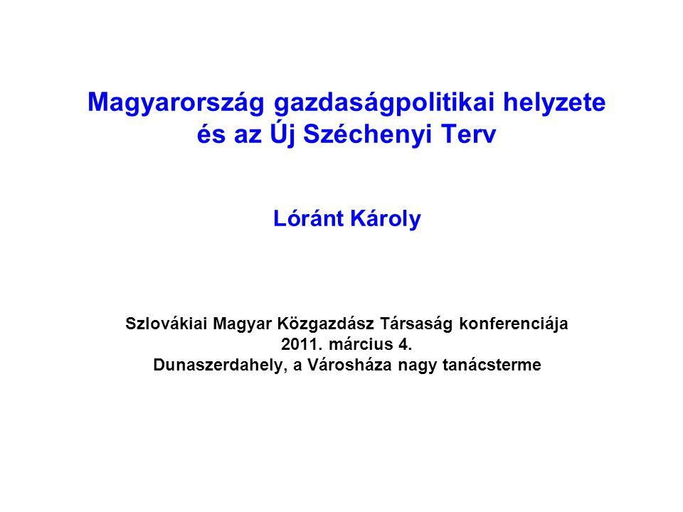 Magyarország gazdaságpolitikai helyzete és az Új Széchenyi Terv Lóránt Károly Szlovákiai Magyar Közgazdász Társaság konferenciája 2011. március 4. Dun